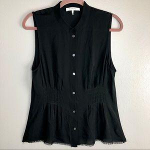 Frame sleeveless sheer 100% silk button up blouse